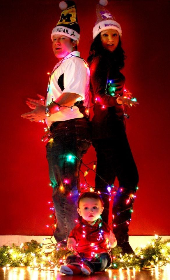 Family Christmas photo tied up by Christmas lights! | Picture Ideas ...