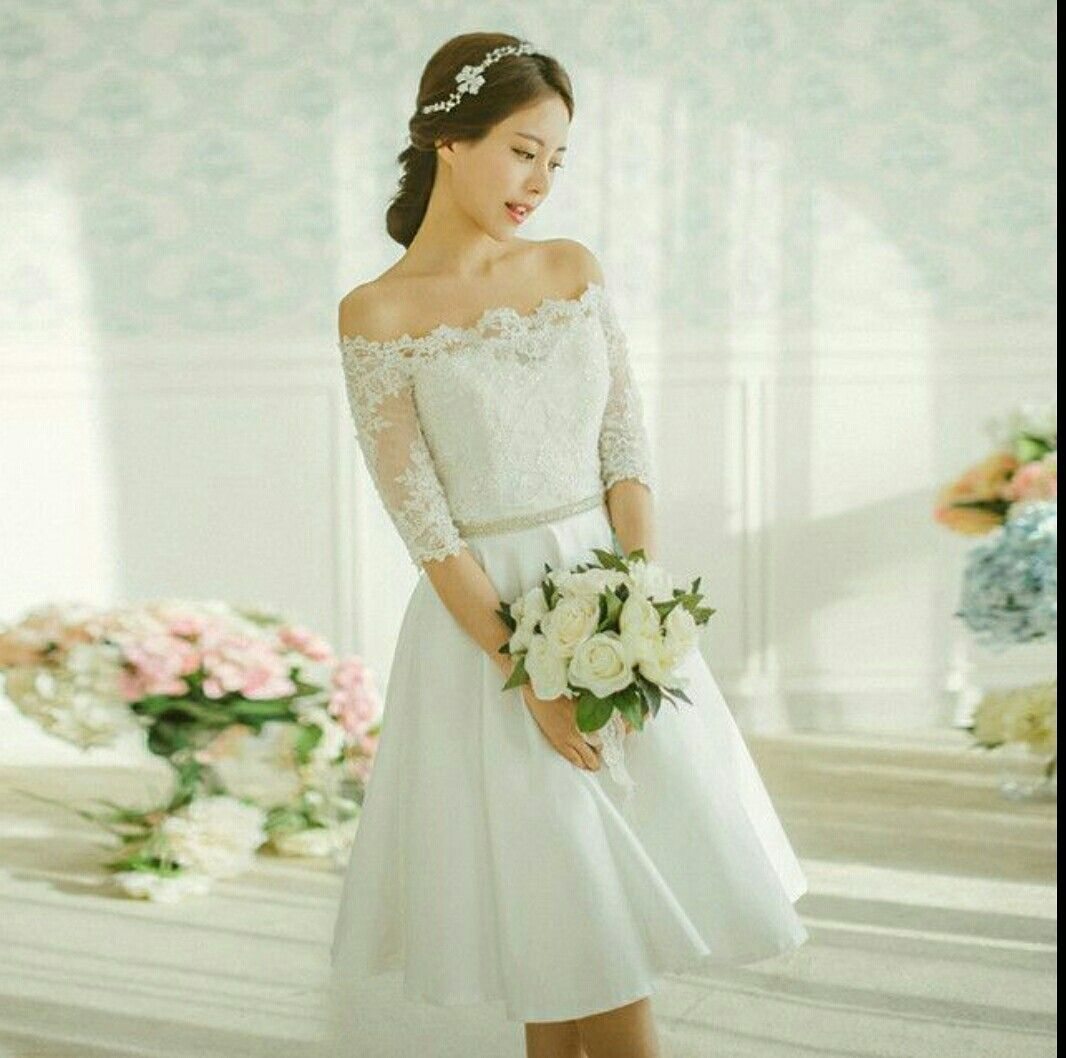 Wedding Dress Korean Style Short Wedding Dress Knee Length Wedding Dress Wedding Dresses 2017 Lace [ 1058 x 1066 Pixel ]