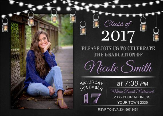 Graduation Invitation High School College Invite Mason Jar Ball Backyar