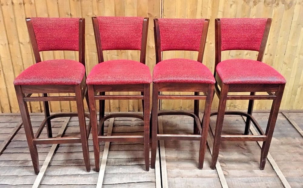 Set Of 4 Solid Wood High Back Barstools With Red Fabric Seat Pub