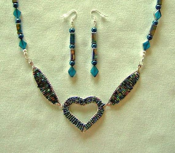 Heart Pendant Necklace in Aqua Blue Glass Wire Work with Matching Beaded Dangle Earrings. Gift for Her.