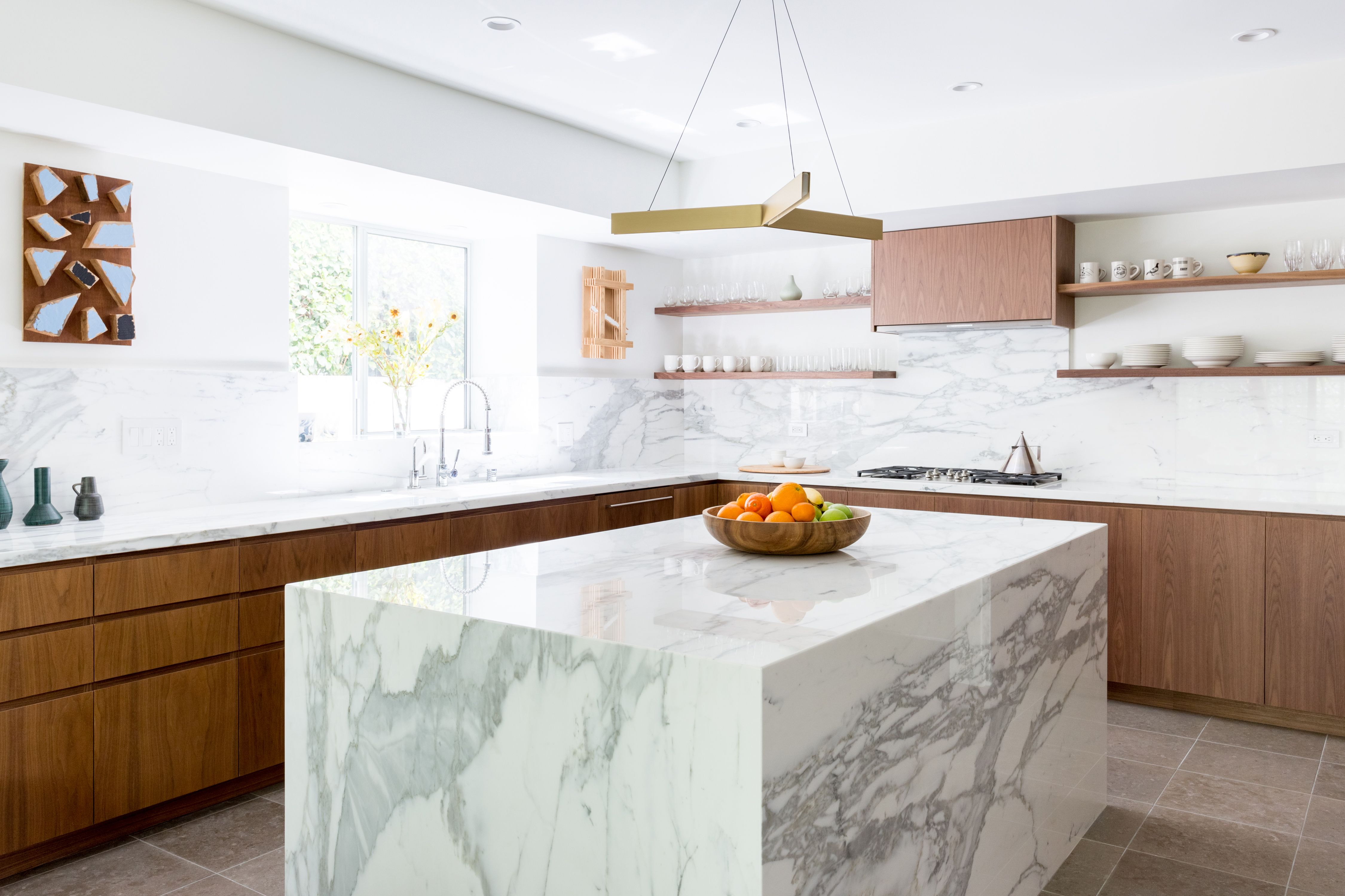 Best Beautiful Renovated Kitchen With Gold Carrera Marble 640 x 480