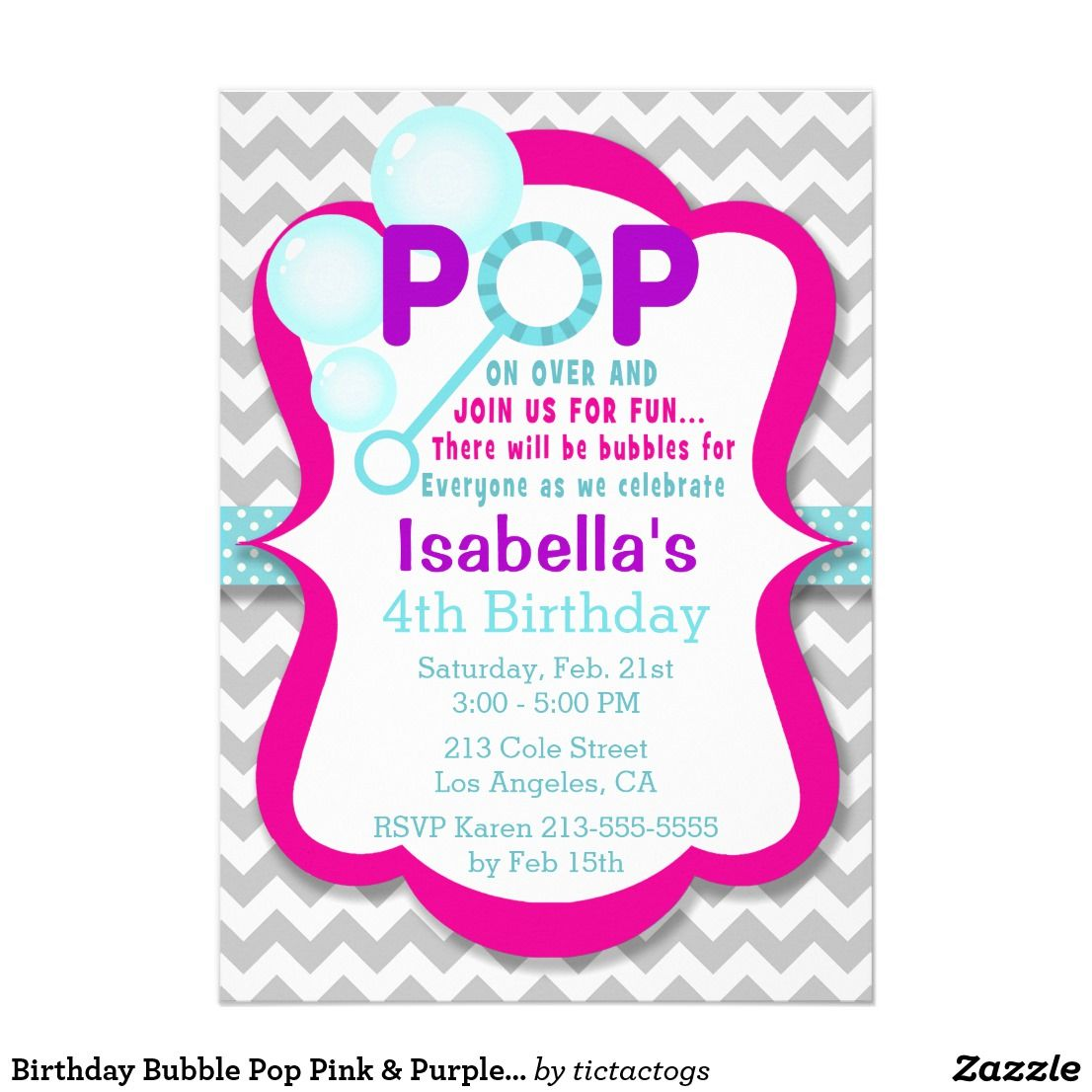 Birthday Bubble Pop Pink & Purple Party Invitation | Girls Birthday ...