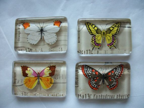 4 Rustic Butterfly US Postage Stamp Glass Magnets by BadCatCraft
