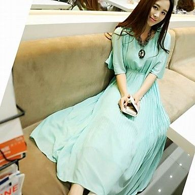 Women's Bohemian Round Collar Ruffled Pleated Slim Waist Dress – USD $ 42.99