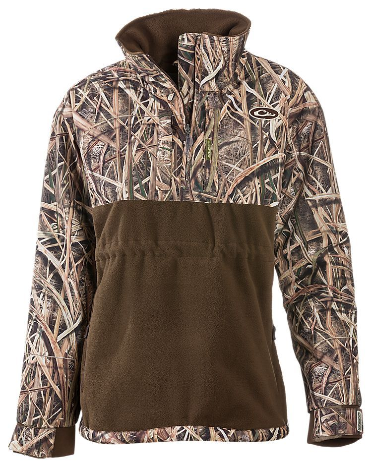 DRAKE WATERFOWL SYSTEMS MST CAMP FLEECE PULLOVER SHADOW GRASS BLADES CAMO LARGE