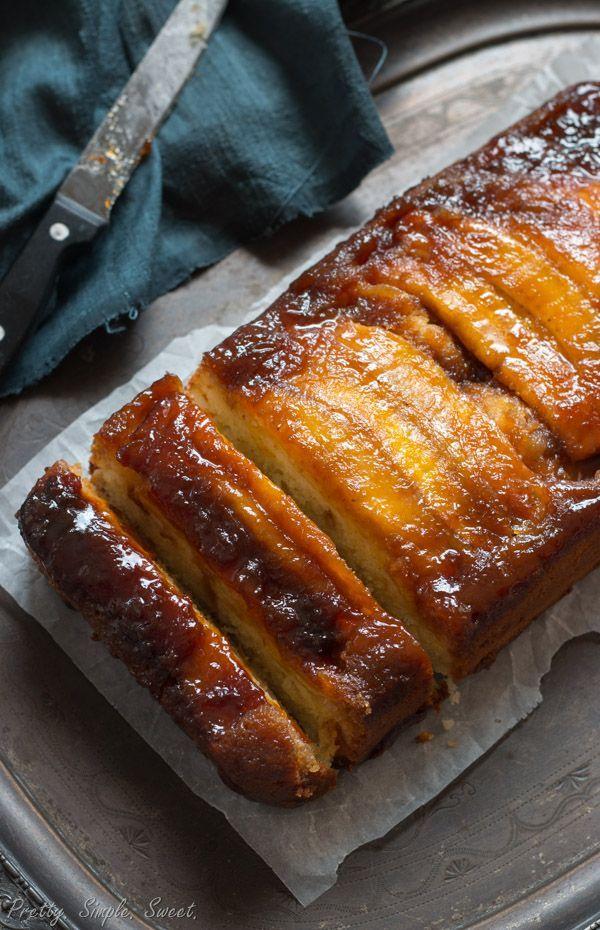 Caramel Banana Upside Down Cake Receita Bolo De Creme De Leite