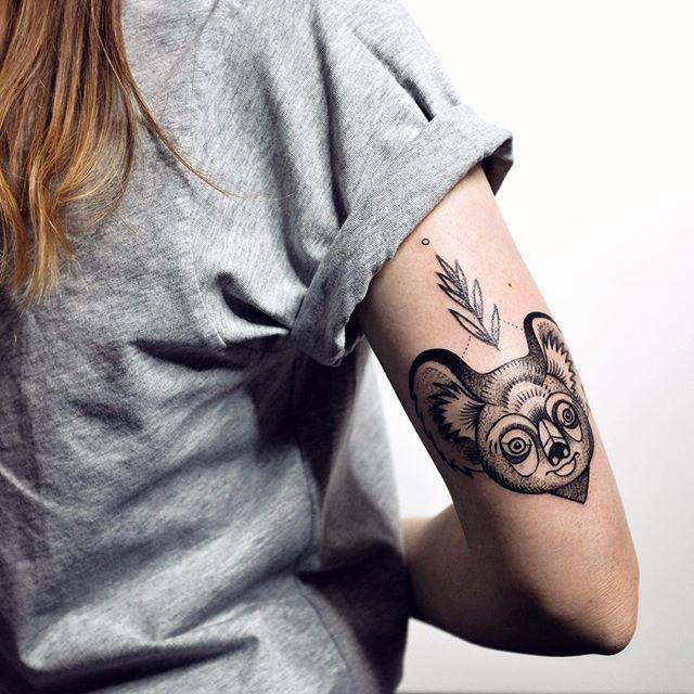 Super Cute Koala And Eucalyptus For Julie Tattoo Blacktattoo