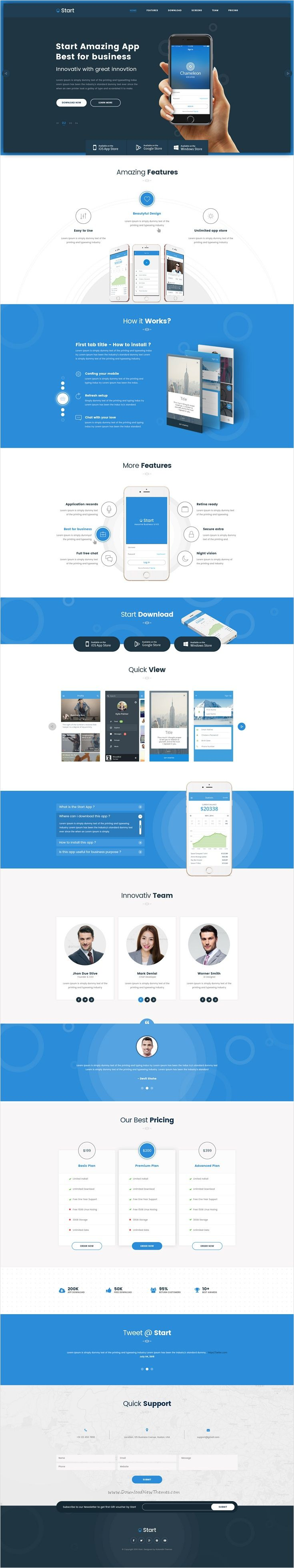 Start - App Landing Page HTML Template   Startups, Template and App