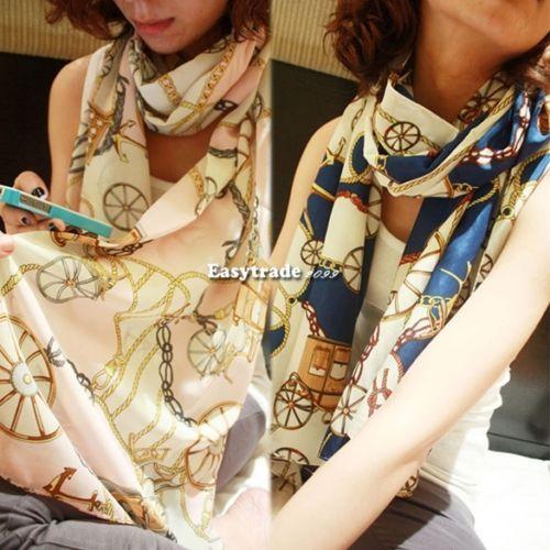 Fashion Lady Long Scarf Women Soft Silk Chiffon Wheel Scarves Wraps Shawl Stripe