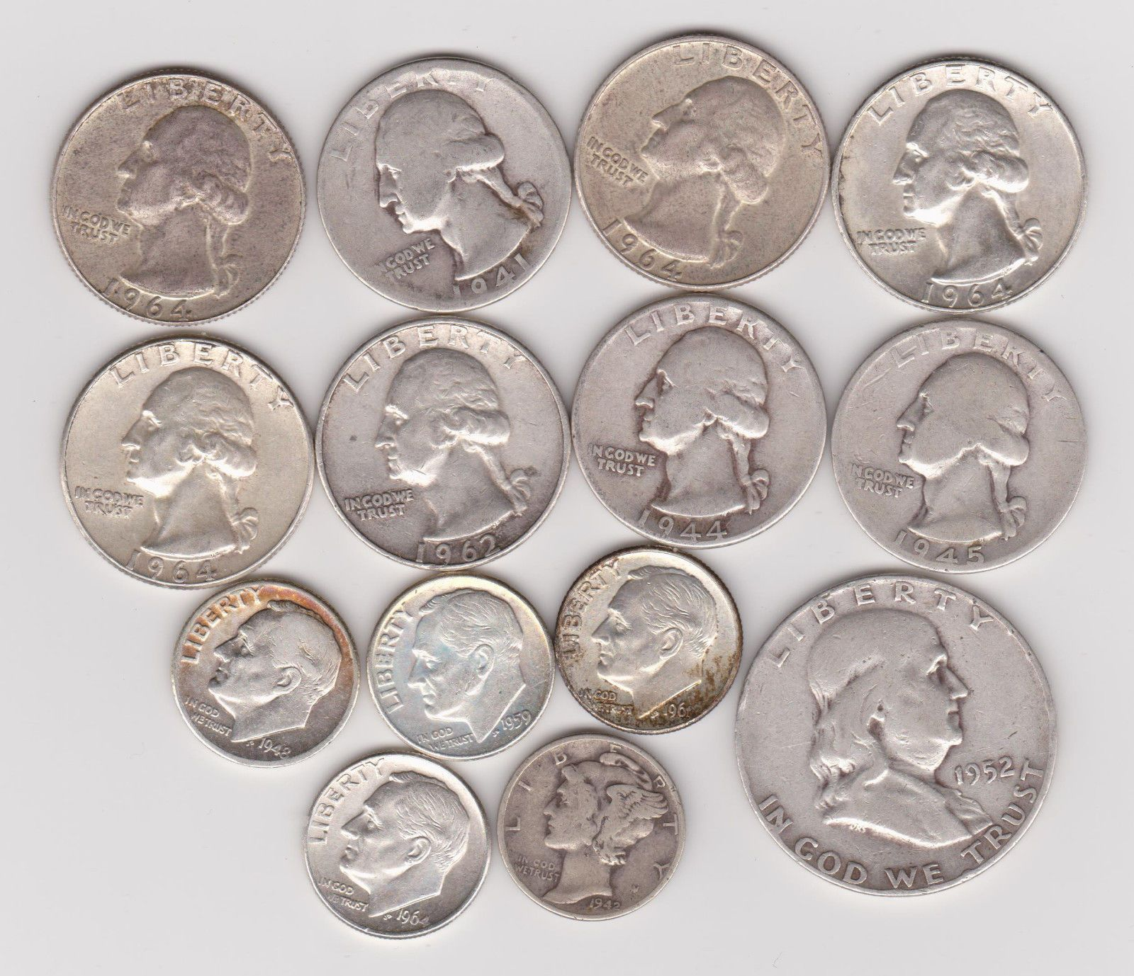 USA JUNK SILVER COINS 1964 OR EARLIER 90% SILVER QUARTERS