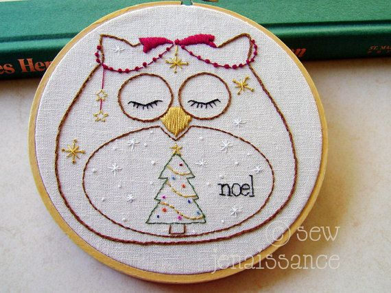 Embroidery Pattern PDF Owl Holiday Christmas Design on Etsy, $5.00