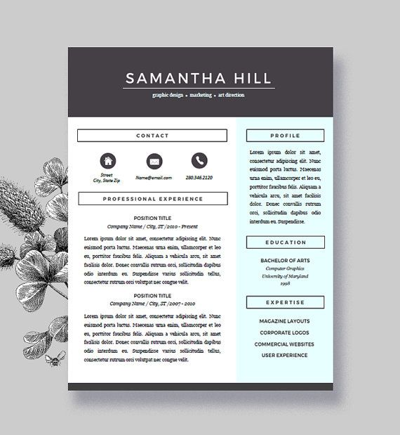 Resume Template And Cover Letter For Word And Pages  Two Pages