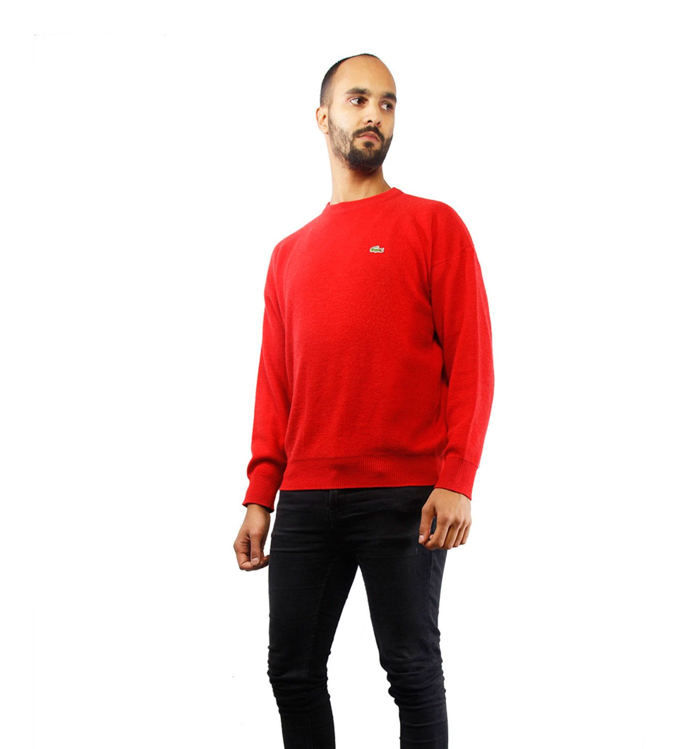 LACOSTE Pullover / Vintage Wool Pullover / Red / 90s Sweater ...