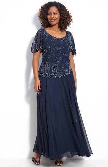 J Kara Floral Beaded Mock Two-Piece Chiffon Gown (Plus Size ...