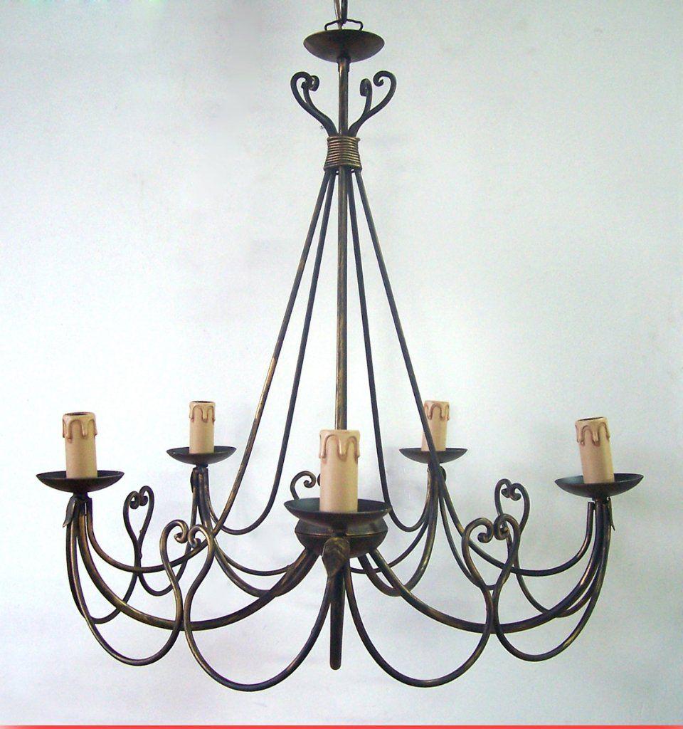 Lampadario ferro battuto realizzato artigianalmente b b for Arredamento ferro battuto