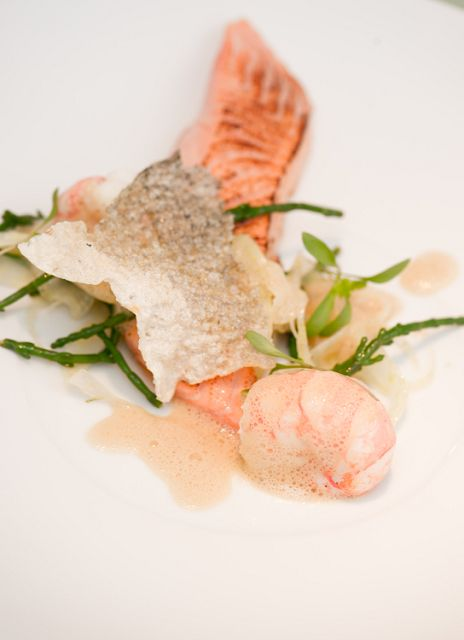 Salmon and Langoustine with Salmon Scratching, pickled Samphire and sea herbs