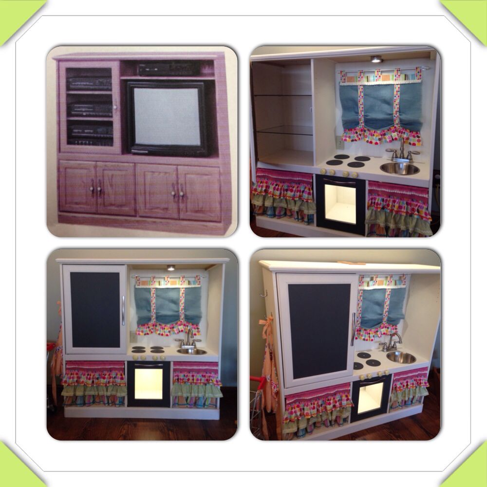 Entertainment Center Kitchen Set: DIY Children's Kitchen Made From Old Entertainment Center