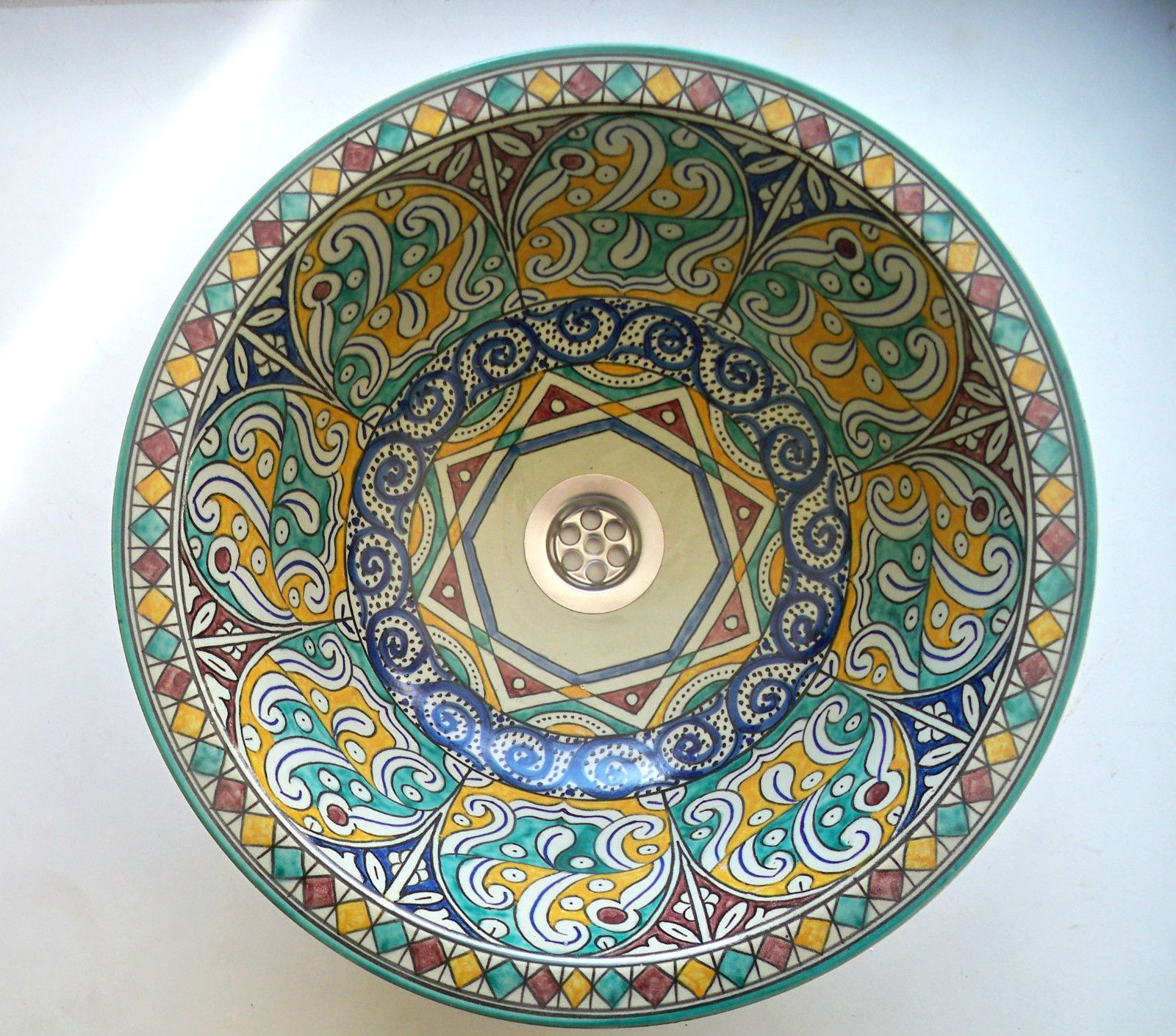 Vasque c ramique ronde marocaine vier lave main n25 for Lavabo porcelaine ou ceramique