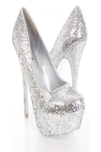 ac8138cedb4 Silver Glitter Faux Leather Closed Toe Platform Pump Heels..................PROM  SHOES!