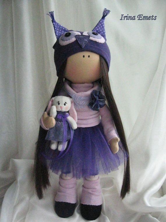 Tilda a mano muñeca tela muñeca color negro por AnnKirillartPlace