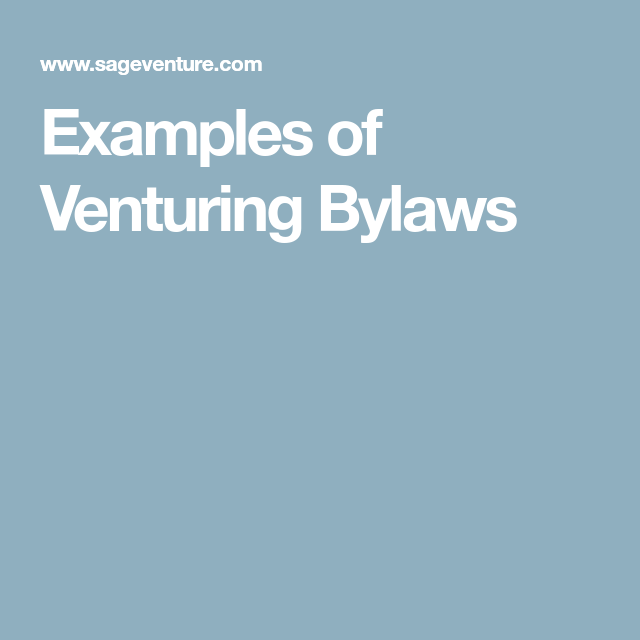Examples Of Venturing Bylaws Troops