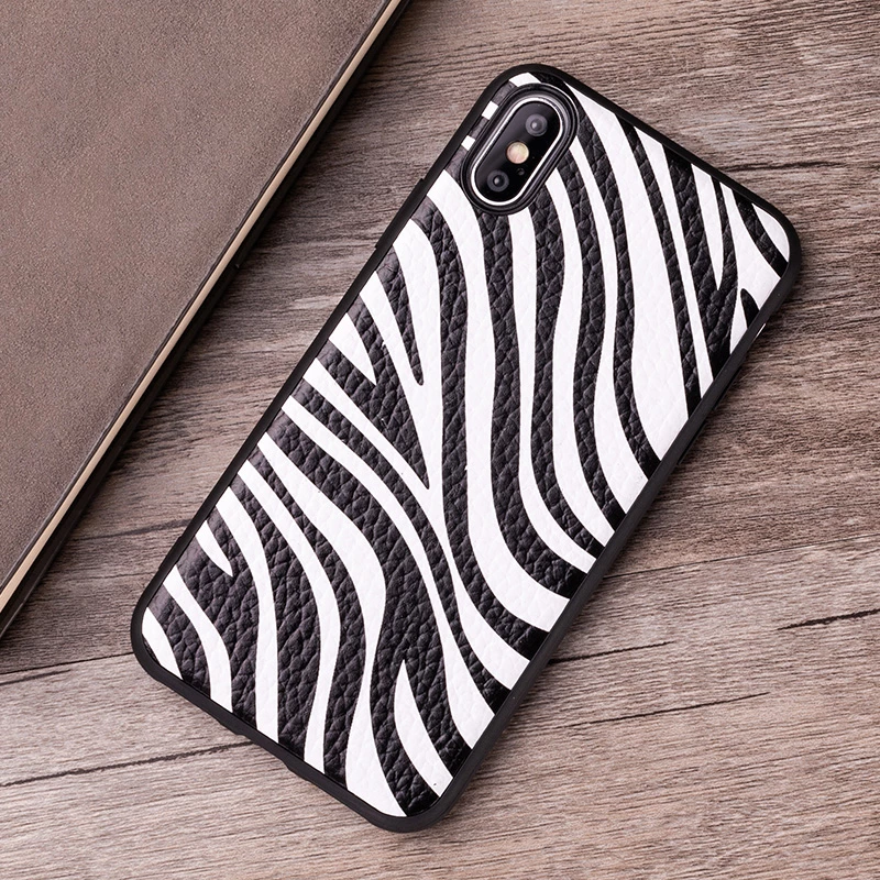 Zebra Stripes Textured Leather Phone Case For iPhone 7 8 X
