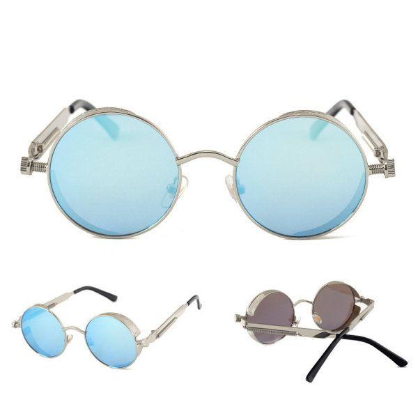 b51c16cf3f Men Women UV400 Vintage Steampunk Round Mirror Lens Sunglasses Outdoor  Sport Eyewear