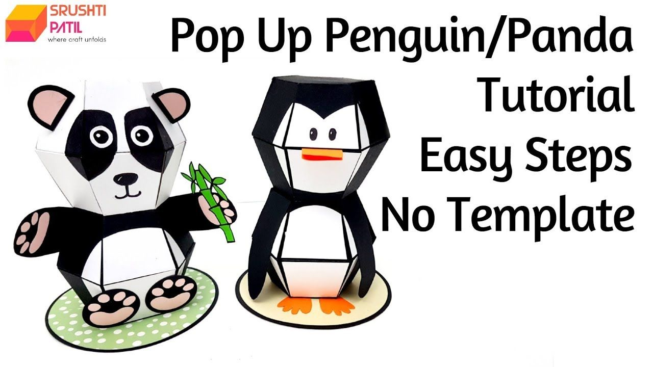 Pop Up Penguin Panda Tutorial By Srushti Patil No Template Easy Steps Youtube In 2020 Pop Up Card Templates Panda Card Pop Up Cards