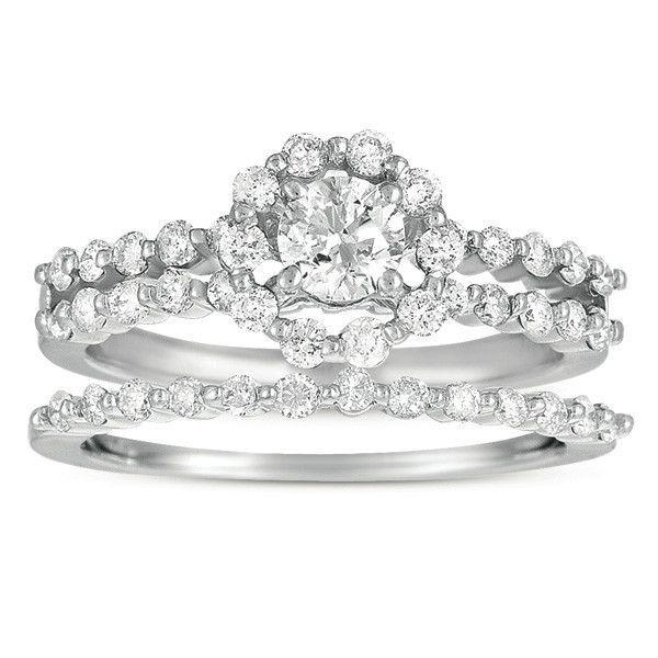 799 95 For 1 Ct Si2 I1 Diamond 14k White Gold Halo Engagement Ring Bridal Set Wedding White Gold Engagement Rings Halo Engagement Rings Bridal Sets I1 Diamond