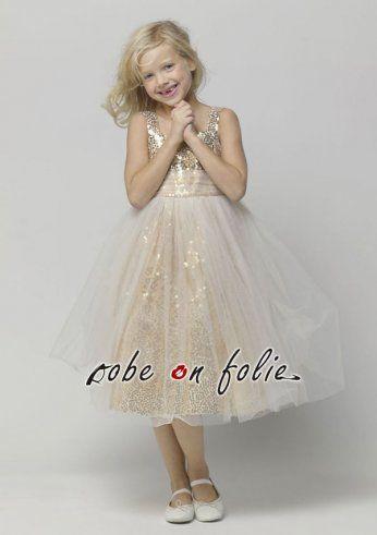 4727409d04154 Robe de fête pour enfant en tissu pailleté de couleur or avec une couche de voile  légère