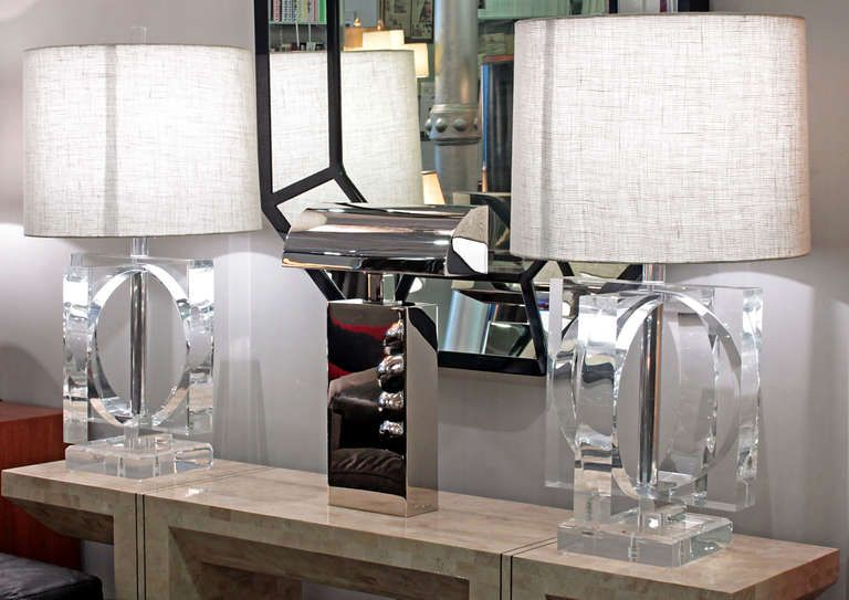 Large And Impressive Pair Of Lucite Table Lamps