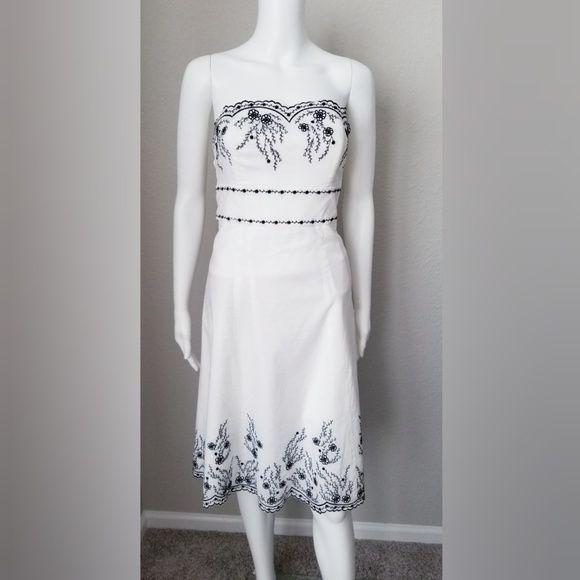 Whbm White Strapless Dress House Black Market