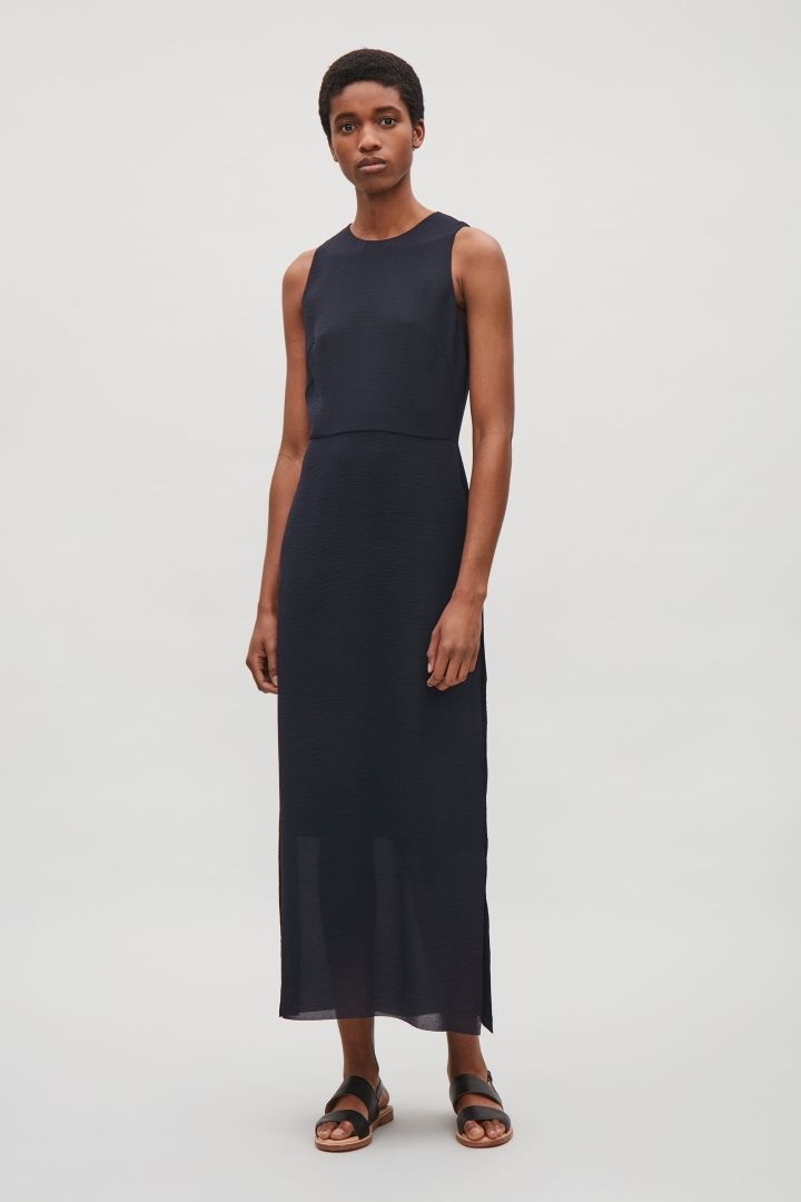 5af3a9169 COS image 7 of Long sleeveless dress in Dark Navy | Looks to Wear in ...