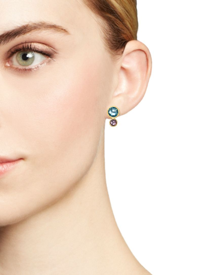 65049708370e Marco Bicego 18K Yellow Gold Jaipur Two Stone Earrings with Blue Topaz and  Amethyst