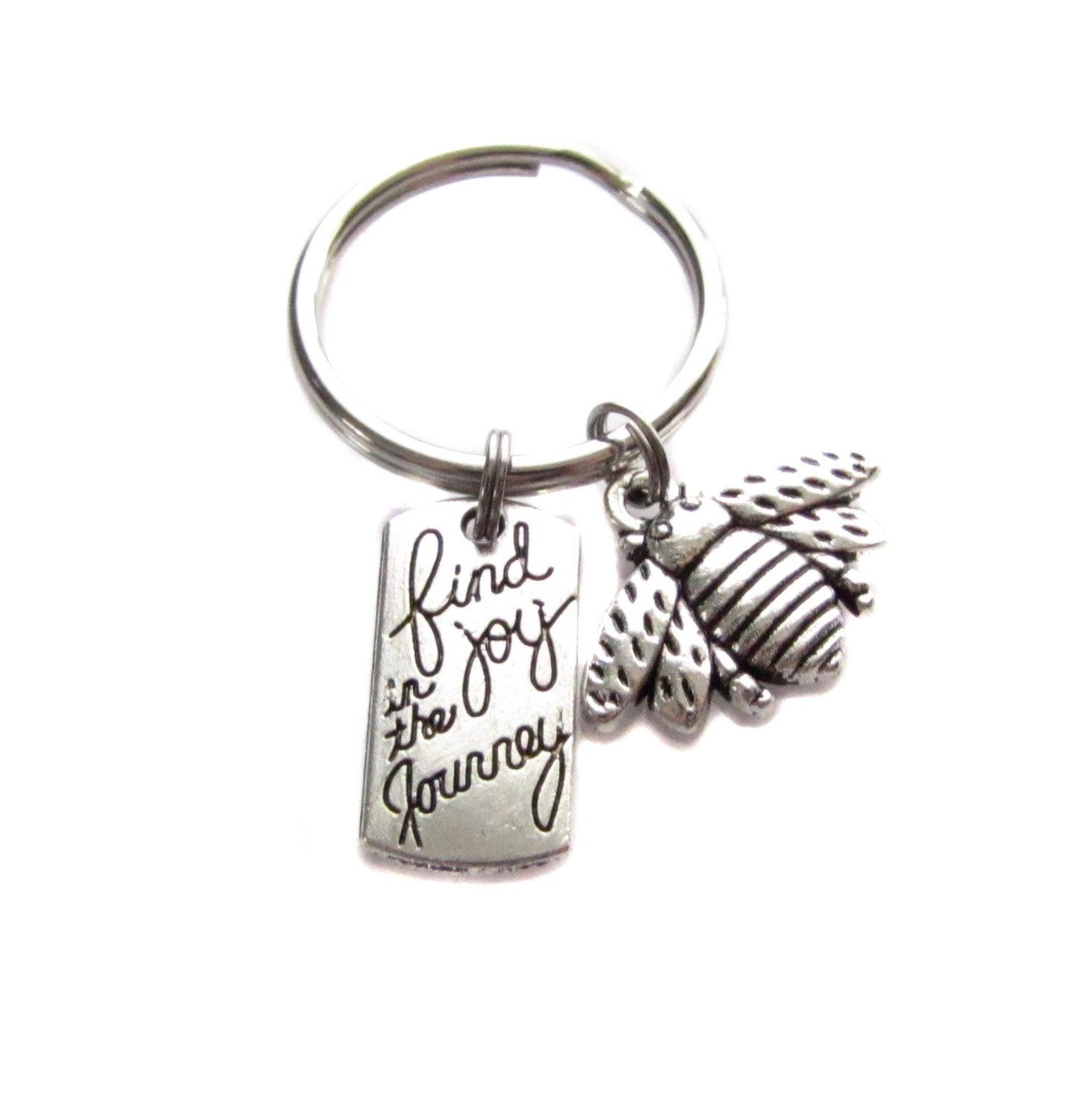 "Amazon.com : ""Find Joy in The Journey"" With Bee Charm Keychain, Bag Charm, Inspirational Graduation Gift : Everything Else"