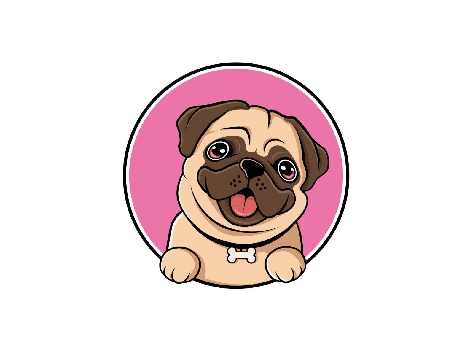Pug Dogs Logo Design Template Dog Logo Design Pug Dog Pug Logo