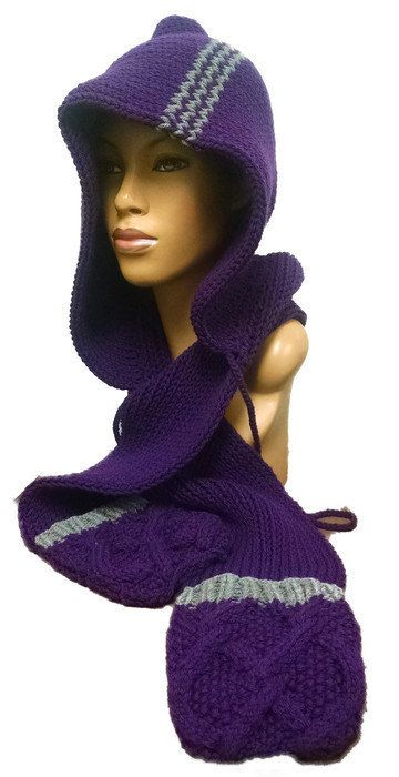 Instant Download Loom Knitting Pattern Easy Scoodie Hooded Scarf