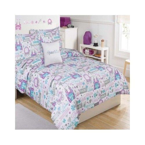 Etonnant Bedroom Comforter Set 5Pc Bed In A Bag Kids Girls Sparkle Princess Twin Full
