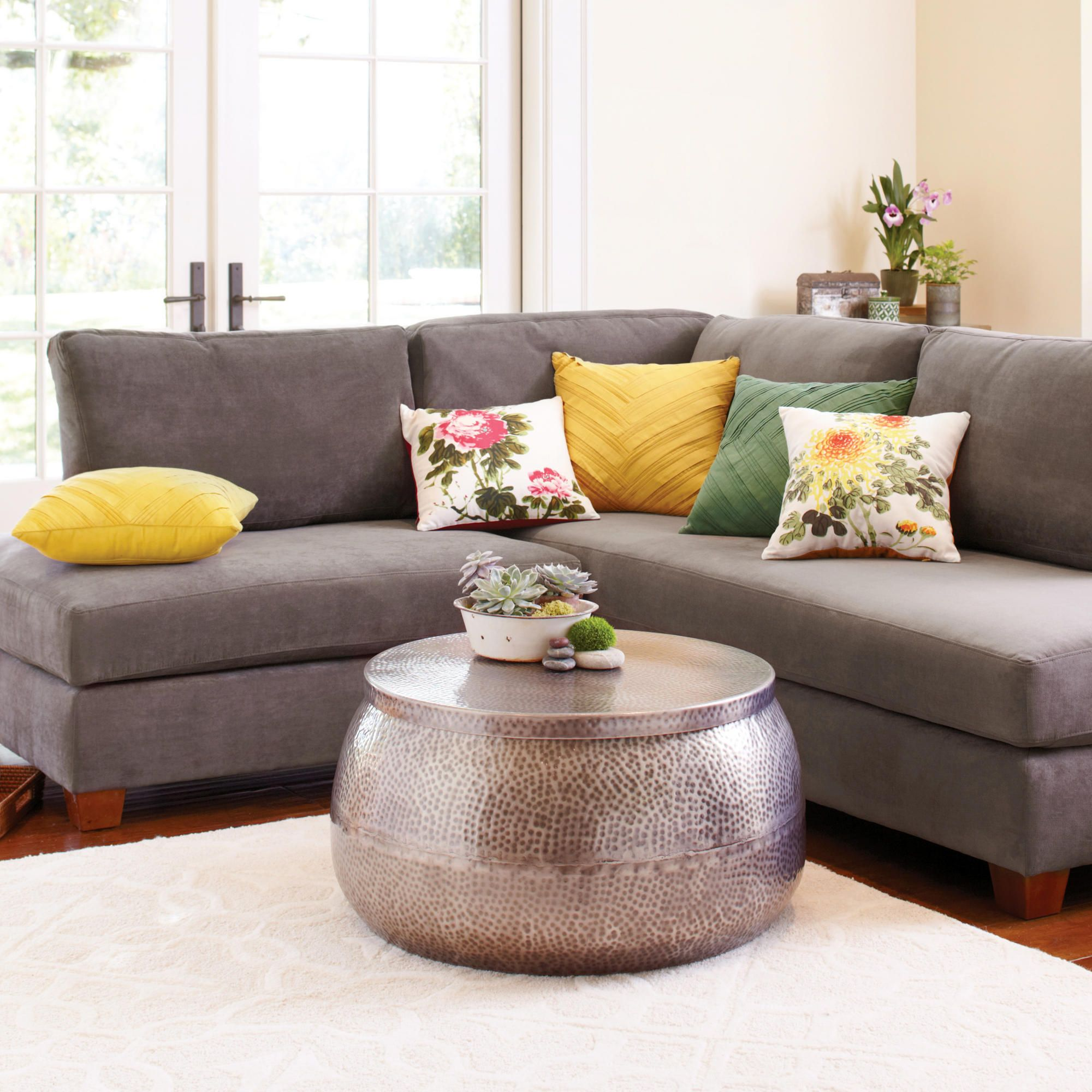 Beau LOVE The Center Table And Fun Colors Of The Throw Pillows! Charcoal Wyatt  Sectional Sofa | World Market