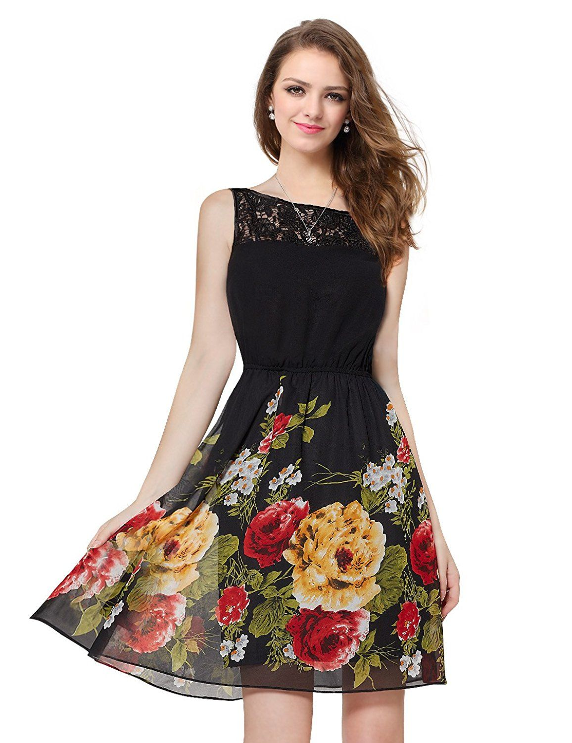 f4de43855a9 Ever Pretty Lace Neckline Sleeveless Floral Print Black Casual Dinner Dress  05190 -- Awesome product. Click the image   Prom dresses