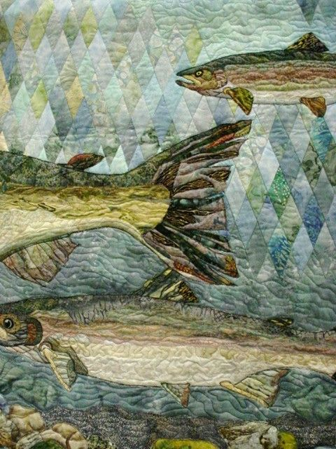 Detail of River Run by Cassandra Williams shown at Quiltfest 2004.  Love all of it!busybeeno16.blogspot.com
