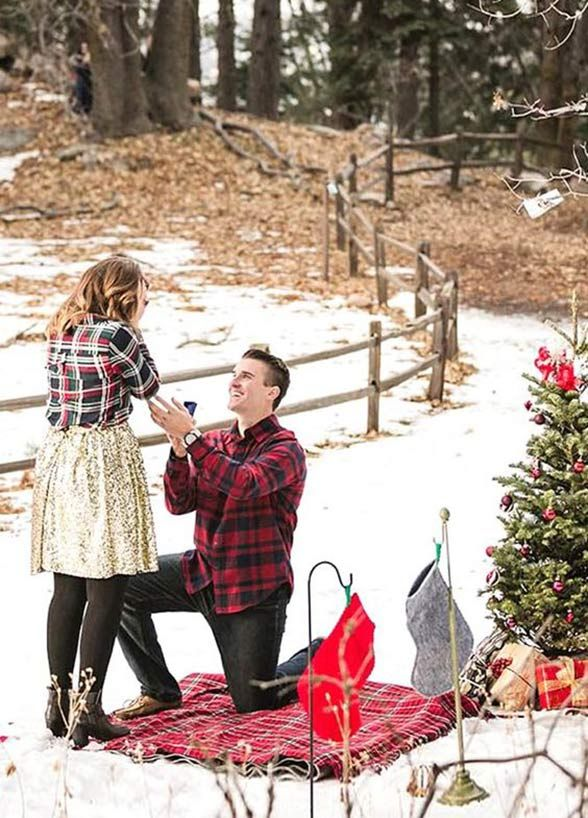A snowy Christmas picnic turned into a surprise wedding proposal!    Christmas proposal, Romantic proposal, Wedding proposals