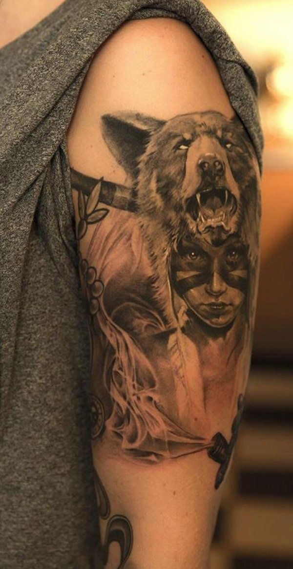 Native American Tattoo Realistic Indian Girl Wearing A Wolf Headdress In Tattoo Wolf Girl Tattoos American Tattoos Native American Tattoo