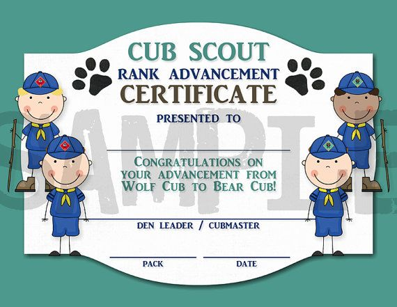 Rank Advancement Certificate Wolf Cub to by CapturedbyJessPrints - boy scout medical form