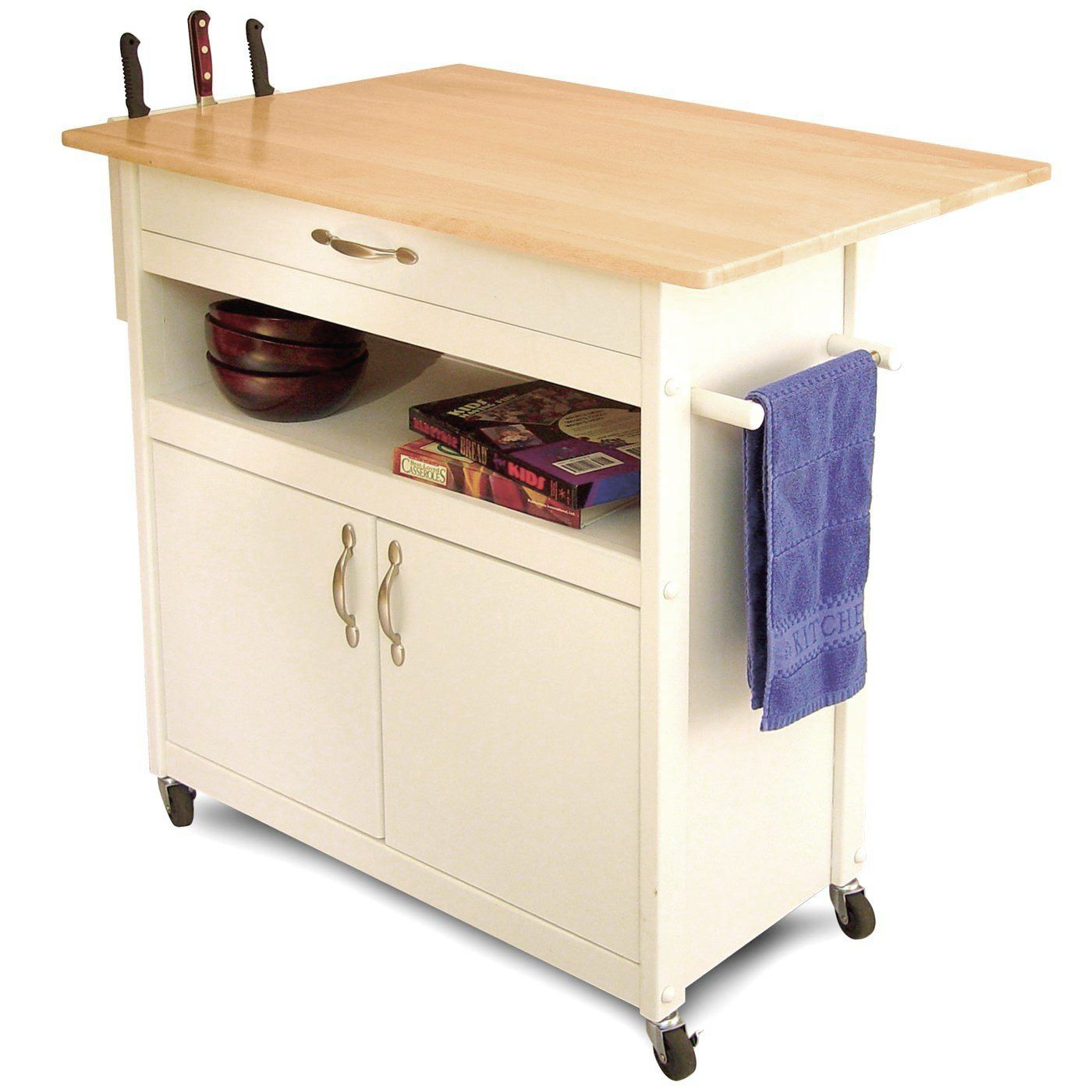 Cabinet Enclosed Storage Area Knife Rack Towel Bar Locking Casters Cottage Collection Product Type Kitchen Cart Base Finish White Mat