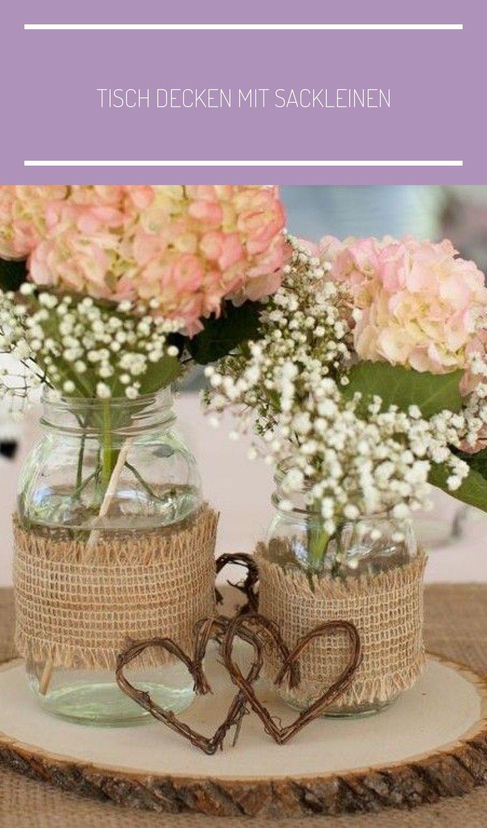 Tisch Decken Mit Rupfen Tischlaufer Und Tischdeko Mit Holz Und