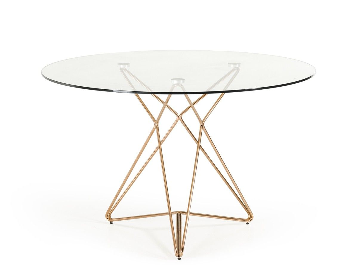 Modrest Ashland Modern Glass Round Dining Table