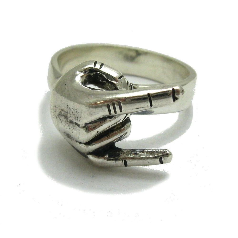 Sterling silver biker ring solid 925 Heavy metal sign R001767 Empress