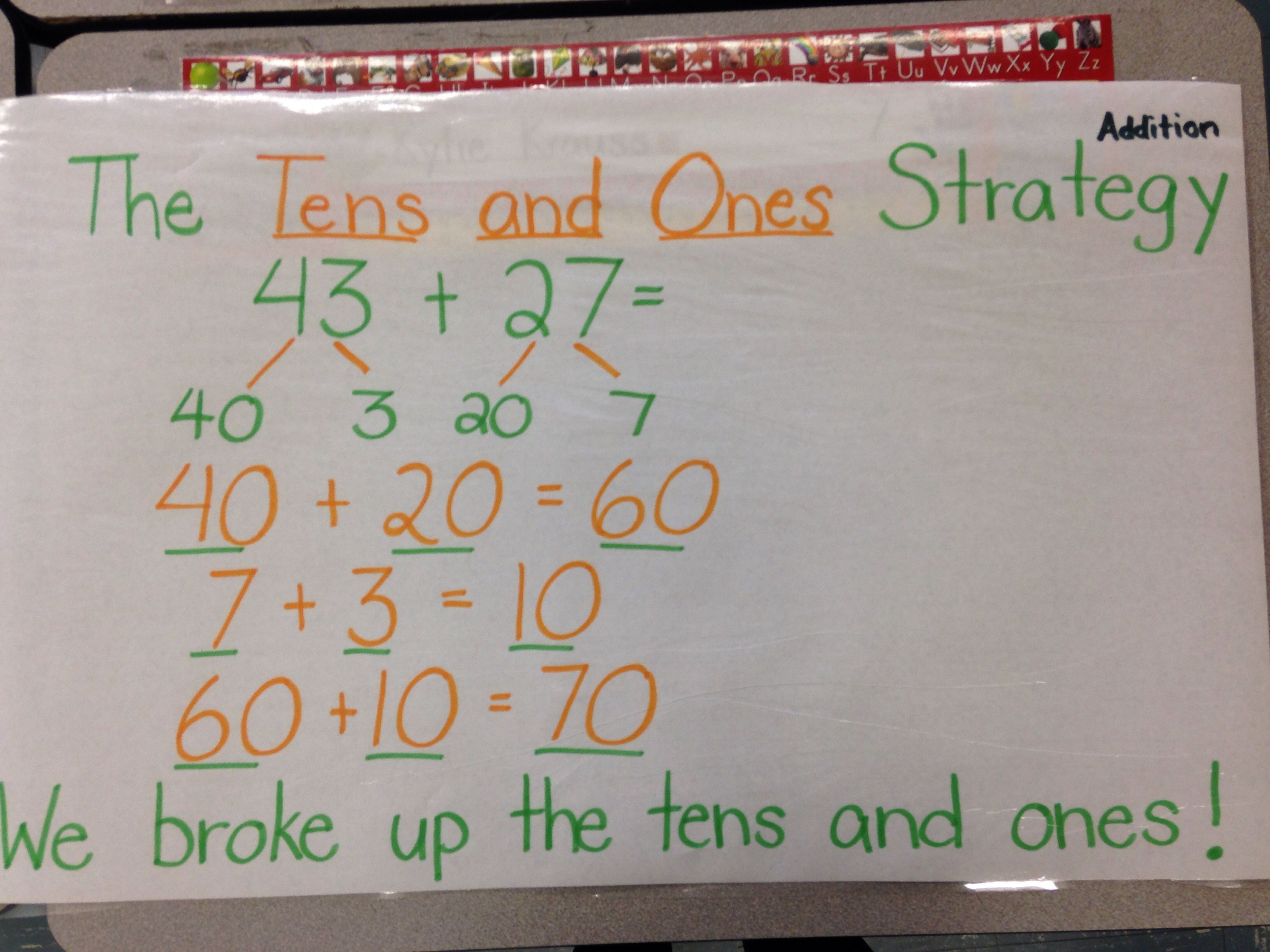 Tens and ones addition strategy